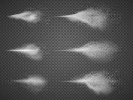 Deodorant atomizer fog vector set. Water aerosol spray mist isolated. Water and perfume sprays on transparent background