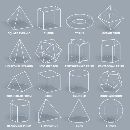 Abstracte 3d wiskunde geometrische overzicht vormen vector set. Geometrie figuur grafische piramide en kubusvormige, torus en octaëder illustratie