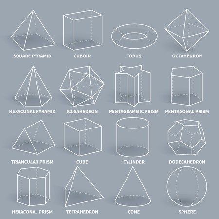 Abstract 3d math geometric outline shapes vector set. Geometry figure graphic pyramid and cuboid, torus and octahedron illustration Stock Photo