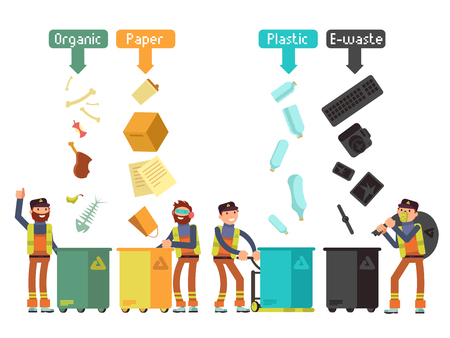 wastebasket: Garbage waste segregation for recycling vector concept. Segregate waste and separate trash illustration Stock Photo