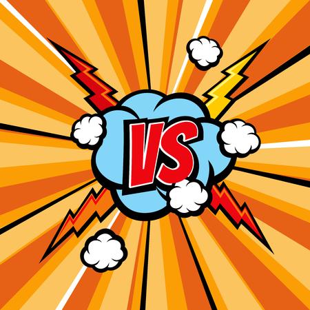 Fond de vecteur bande dessinée Versus bataille avec texture livre demi-teinte et la foudre. Confrontation vs, duel de dessins animés et illustration d'opposition