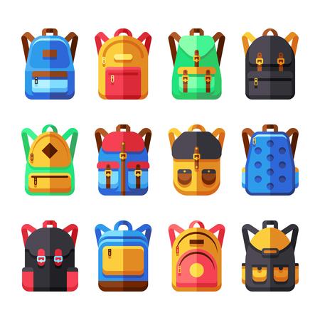 bookbag: School backpacks vector set. Kids schoolbag flat collection. Backpack and schoolbag illustration