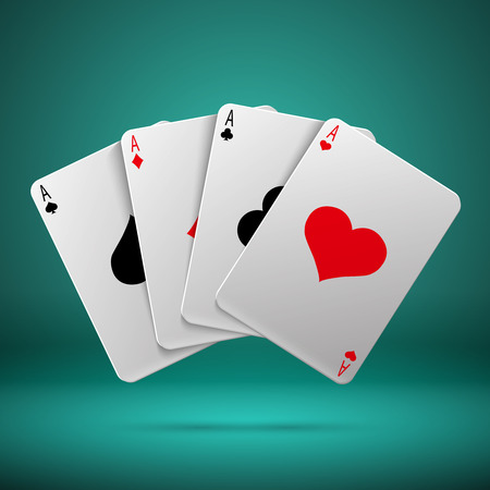 four objects: Casino gambling poker blackjack vector concept with playing cards with four aces. Combination playing card illustration