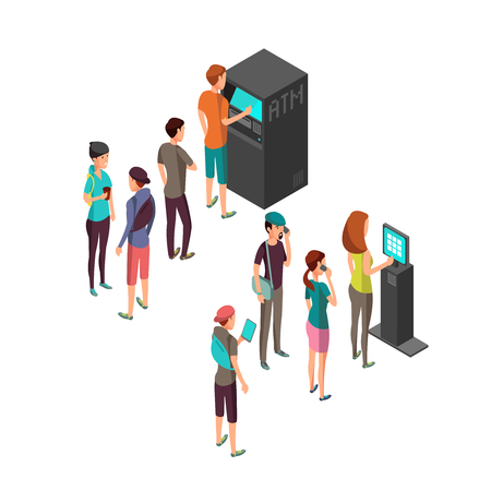 Row of waiting people at atm payment machine and terminal. 3d isometric banking and finance vector concept. Atm machine and queue people to terminal bank illustration