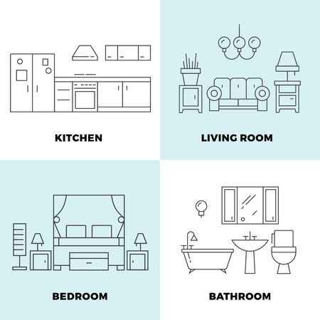 space television: Thin line rooms concepts - apartment concept design. Furniture for home rooms. Vector illustration