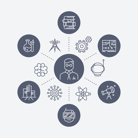 course development: Science or education concept with line icons. Knowledge and science research, vector illustration Illustration