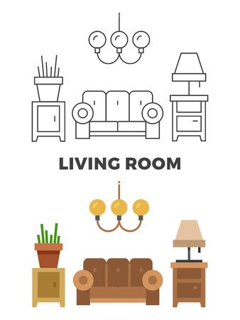 Concepto de sala de estar - plano y estilo de línea de diseño de sala de estar. Ilustración del vector Ilustración de vector