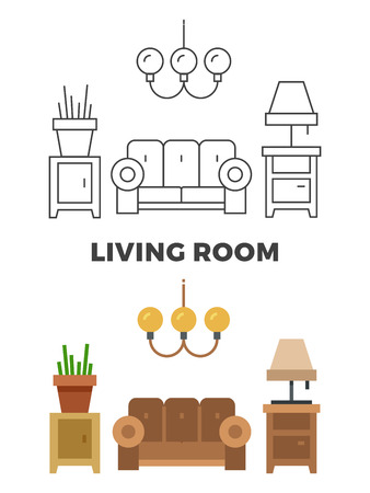 Living room concept - flat and line style living room design. Vector illustration Ilustrace