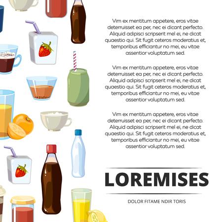 Non-alcoholic cartoon drinks poster design. Freshness non-alcoholic beverage, vector illustration