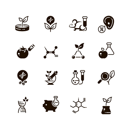 genetic modification: Genetic modification biotechnology and dna research vector micro icons. Gmo research, biotechnology genetic dna illustration