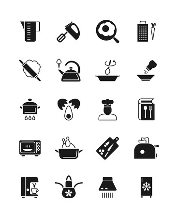 refrigerator: Cooking and kitchen equipment black silhouette vector icons. Cooking utensil silhouette, kitchen tool pan and pot illustration