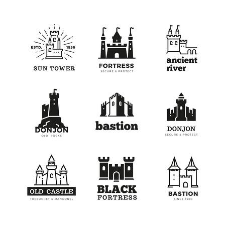 Medieval castle and knight fortress vector ancient royal logo set. Fairytale fortress logo, historical royal building citadel illustration Ilustração