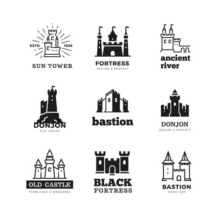 Medieval castle and knight fortress vector ancient royal logo set. Fairytale fortress logo, historical royal building citadel illustration Illustration