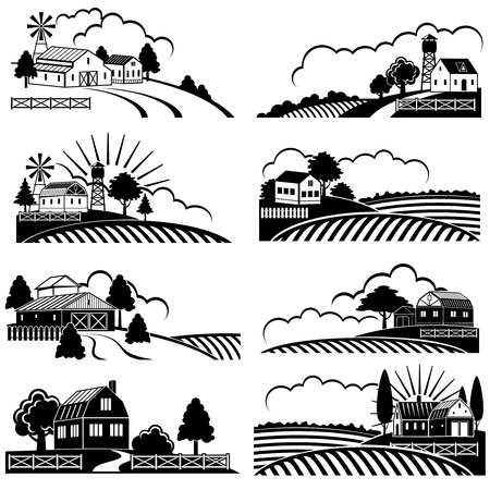 Retro rural landscapes with farm building in field. Vector vintage woodcut art. Landscape farm field, rural nature sketch illustration