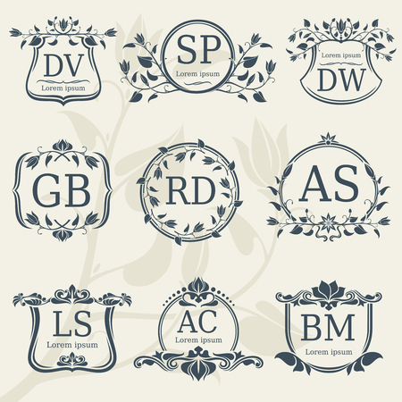 Vintage Elegance Wedding Monograms With Floral Frames Vector