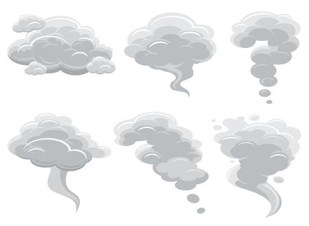 Beeldverhaal rokende wolken en de komische vectorcollectie van de cumuluswolk. Lucht wolk cartoon cumulonimbus illustratie