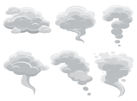 Cartoon smoking clouds and comic cumulus cloud vector collection. Air cloud cartoon cumulonimbus illustration