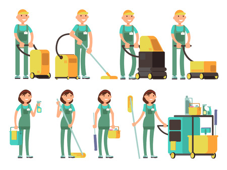 Caratteri vettoriali più puliti con attrezzature per la pulizia. Squadra della società di pulizie nel set vettoriale uniforme. Pulitore con secchio, illustrazione del pulitore di professione dell'uomo del carattere