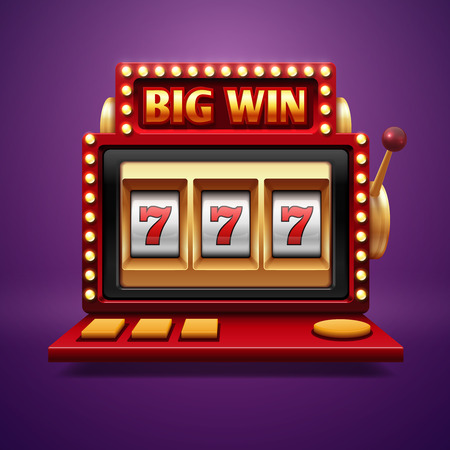 Jackpot slot casino machine. Vector one arm bandit. Slot machine for casino, lucky seven in gambling game illustration
