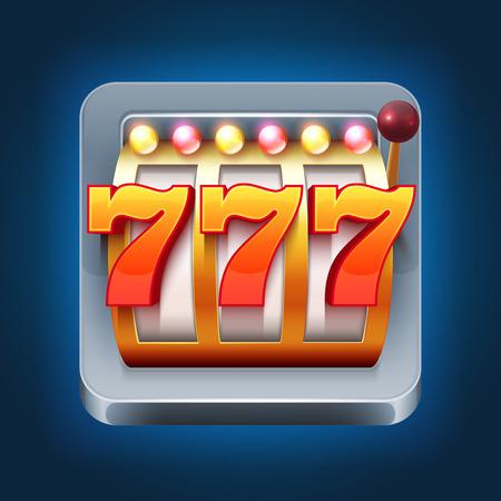 Casino vector smartphone game icon with 777 win slot machine. Gambling game slot machine for web casino illustration
