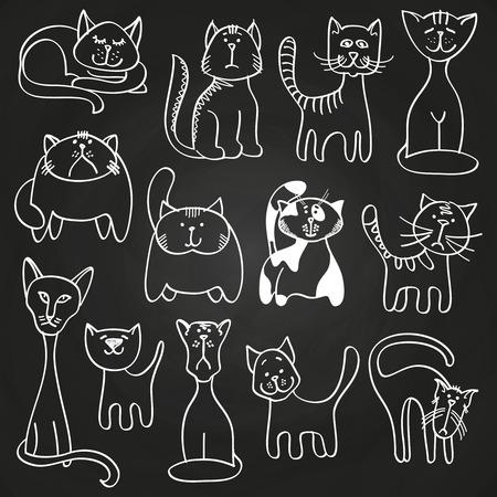 Hand drawn doodle cats set on blackboard Иллюстрация