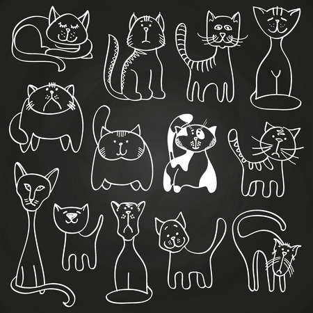 Hand drawn doodle cats set on blackboard Illustration