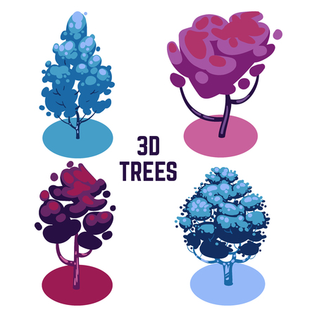 Unusual colors trees collection - fantastic 3D trees isolated Vector illustration