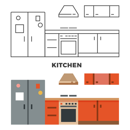 lay: Flat kitchen concept isolated Illustration