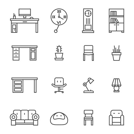 Work room furniture and accessories thin line icons Illustration