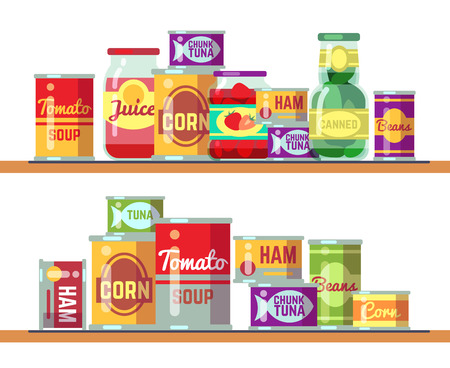 Zuppa di pomodoro rosso e cibo in scatola illustrazione vettoriale. Prodotto a base di conserve di pomodoro in vendita al dettaglio Vettoriali