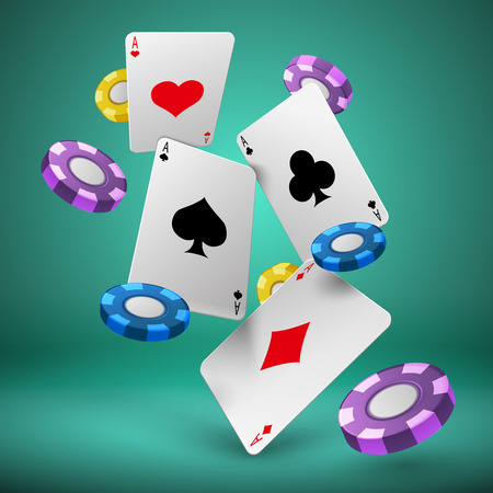 Falling playing cards and poker chips gambling background. Casino success game 3d vector concept. Chip for poker game and play card illustration Çizim