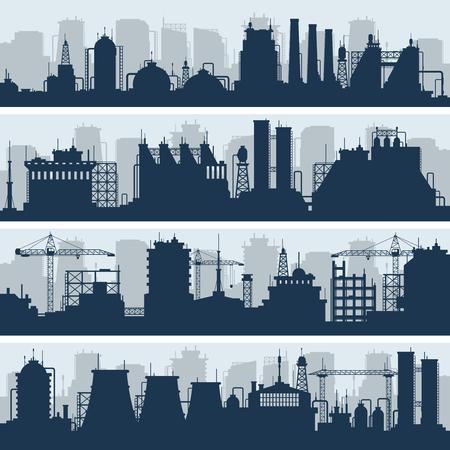 energy work: Industrial vector skylines. Modern factory and works building silhouettes. Urban industry factory and plant structure illustration Illustration