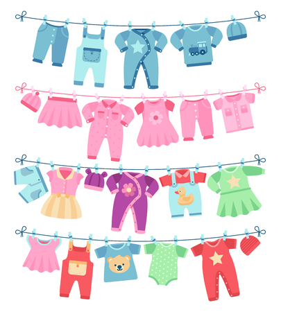 Baby clothes drying on clothesline vector illustration. Clothing baby clean, garment on clothesline