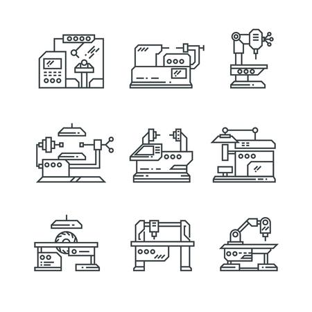 Máquinas industriales vector iconos de línea. Símbolo de fábrica de máquinas herramienta. Máquina de fábrica para industrial, ilustración de maquinaria de equipo
