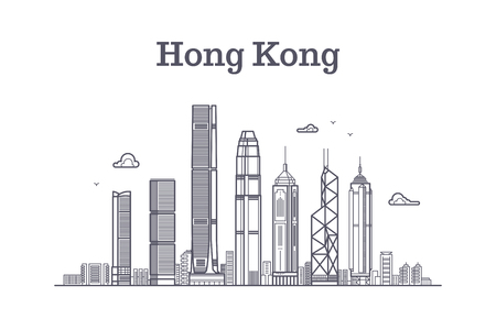 China hong kong city skyline. Architecture landmarks and buildings vector line panorama. Cityscape panorama with skyscraper building illustration