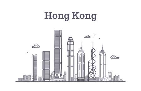 De horizon van de stad van Hongkong. Architectuuroriëntatiepunten en vector de lijnpanorama van gebouwen. Cityscape panorama met wolkenkrabber de bouwillustratie