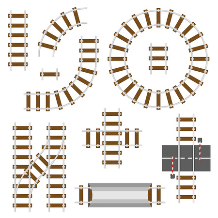 Railway structural elements. Top view railroad tracks vector set. Rail road and track way for train illustration