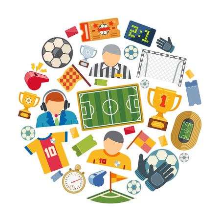 Soccer or european football vector flat icons set Illustration