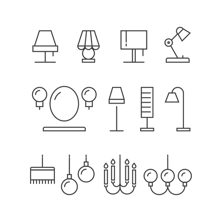 chandelier background: Lighting icons collection - lamps, floor lamps for home, interior, vector illustration