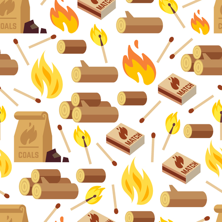 Fiery and wooden seamless pattern - matches, logs and bonfire seamless texture. Vector illustration