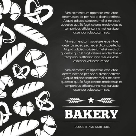 Blackboard poster with bread and croissant - bakery chalkboard background design. Banner bread vector illustration 向量圖像