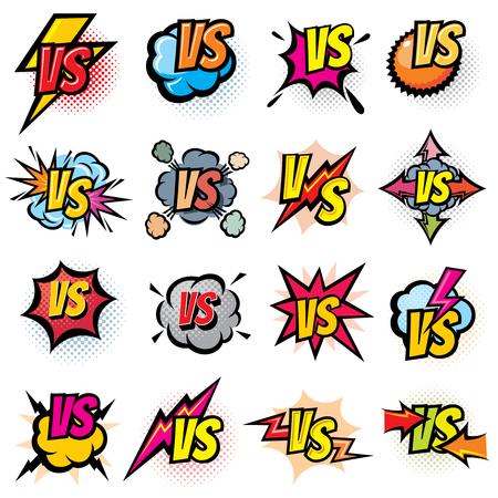 Battle competition versus vector logos set. Vs rivals challenge emblems and labels. Battle challenge sport, versus opposite color, duel and fight in match illustration Reklamní fotografie - 83094702