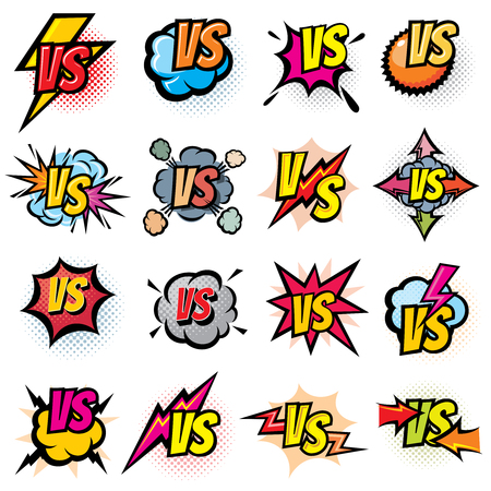 Battle competition versus vector logos set. Vs rivals challenge emblems and labels. Battle challenge sport, versus opposite color, duel and fight in match illustration