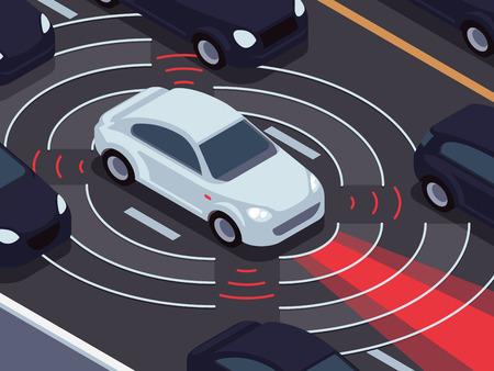 Tecnología de conducción autónoma del vehículo. Asistente de coche y el concepto de vector de sistema de control de tráfico. Vehículo de tráfico tecnológico, sensor de auto-conducción para ilustración de seguridad