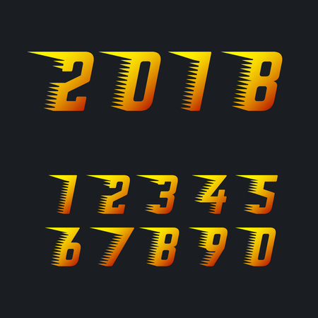 rapidity: Sports racing numbers with rapid motion effect of speed lines set of vector symbols. Happy new year 2018 fiery symbol. Number for racing with rapid effect speed line illustration