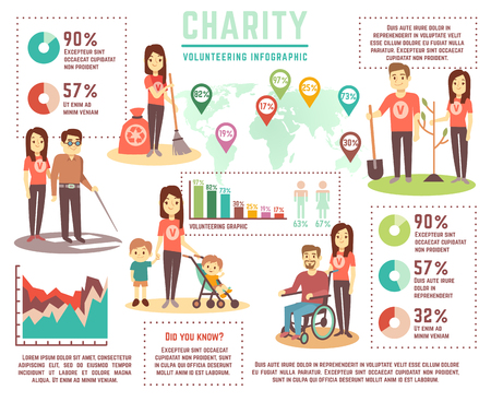 Social help and charity work vector concept. Volunteering infographics. Volunteer and charity, help infographic social illustration