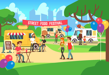carretto gelati: Cartoon street food festival with people and trucks vector background. Street food festival and market illustration Vettoriali