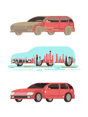 Dirty and clean shine car. Washing stages vector set. Car clean and dirty illustration Illustration