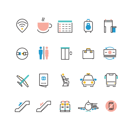 Airoport icons with line and colorful elements. Airport and airplane pictogram icons set luggage and taxi illustration