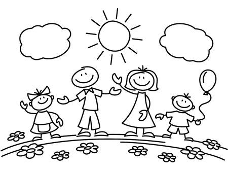 Dibujado a mano figura de palo familia feliz. Dibujo boceto familiar de padres con hijos. Ilustración vectorial